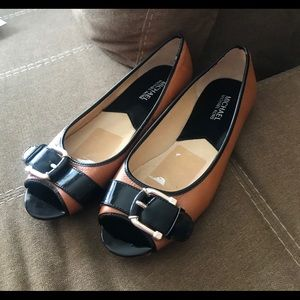 Michael Kors Leather Peep-Toe Flats